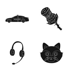 police translation and other web icon in black vector image vector image