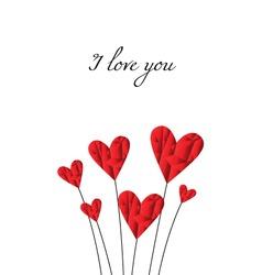 Poly hearts I love you vector