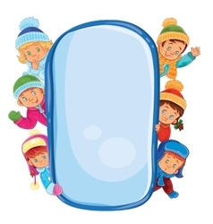 Poster with young children in warm clothes vector image