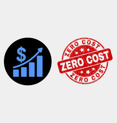 profit up trend chart icon and grunge zero vector image