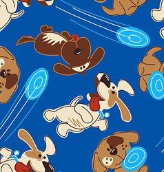 Puppy dogs playing in a seamless pattern vector