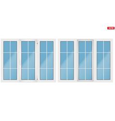 pvc window with three sash vector image