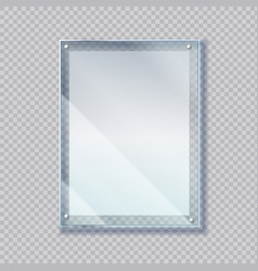 Realistic poster in glass frame 3d sheet paper vector