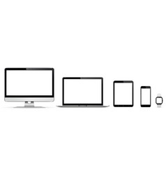 Realistic set of monitor laptop tablet vector