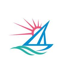 Sail boat - logo template concept vector