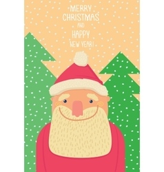 Santa Claus smiling background of christmastrees vector image