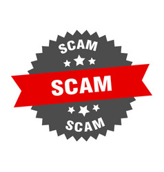 Scam sign scam red-black circular band label vector