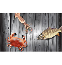 sea food on wood black vector image