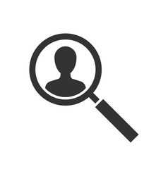 searching person black icon on white background vector image
