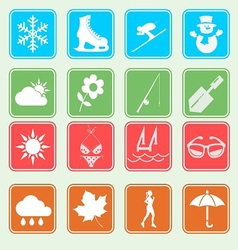 season weather and activity icon vector image