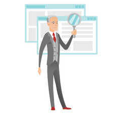 Senior caucasian businessman with magnifying glass vector