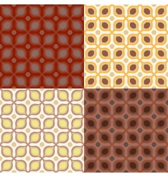 set 4 seamless pattern in 1970s style vector image