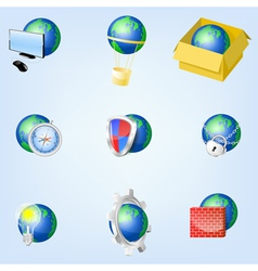 Set of globe icons showing earth EPS10 vector