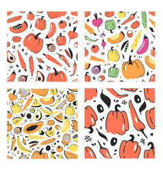 set of hand drawn seamless pattern with fruits and vector image