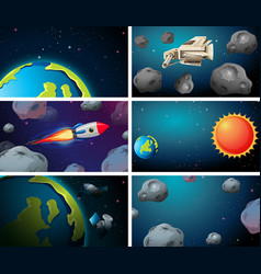 Set rockets asteroids and earth scenes vector