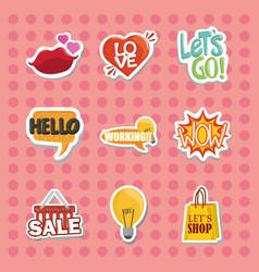 set sticker with lips heart speech bubbles vector image