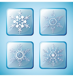 set winter icons with ornate snowflakes vector image