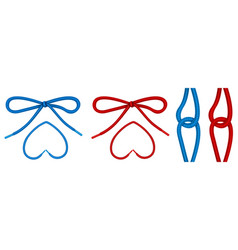 Shoelaces tied in knot and bow shoe ropes vector