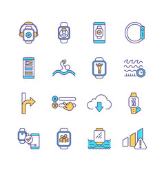 smart watch rgb color icons set vector image