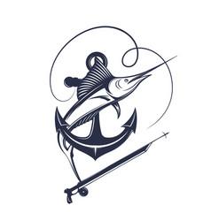Spear fishing vector