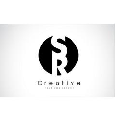 sr letter logo design inside a black circle vector image