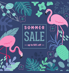 summer sale poster with tropic leaves flowers vector image
