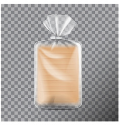 Transparent rectangular packaging for bread pack vector