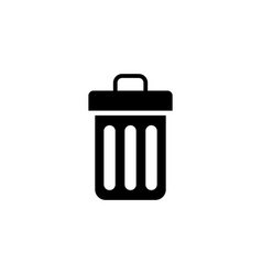 trash can bin flat icon vector image