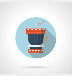 tribal rhythm flat blue round icon vector image