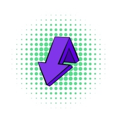 Violet down arrow icon comics style vector