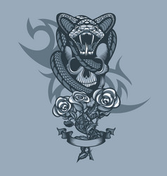 Viper wrapped skull and three roses in front vector