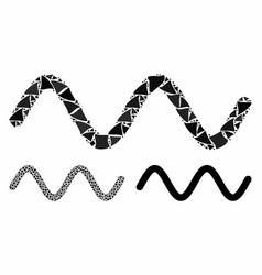Wave signal mosaic icon raggy parts vector