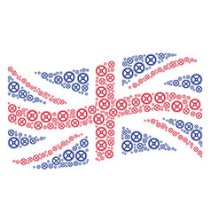 waving british flag pattern of clock gear items vector image