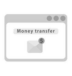 Web page with money transfer sign and delivery vector