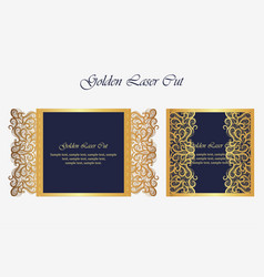 Wedding invitation or greeting card with gold vector