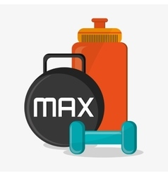 Weight bottle and fitness design vector
