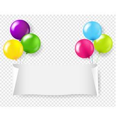 white paper banner with colorful balloons vector image