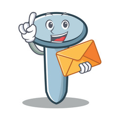 with envelope nail character cartoon style vector image