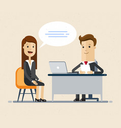 Woman having a job interview with businessman hr vector