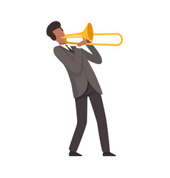 Young man playing trombone male jazz musician vector