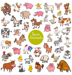 cartoon farm animal characters big set vector image vector image