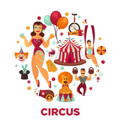 Circus show performance elements and accessories vector