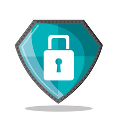 cyber security shield protection padlock vector image vector image