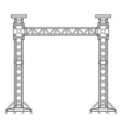dark contour truss tower lift construction vector image vector image