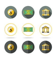 Money and banking icons set In different flat vector image