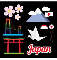 set of greatest japan symbols vector image