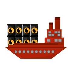 ship boat with barrels oil vector image