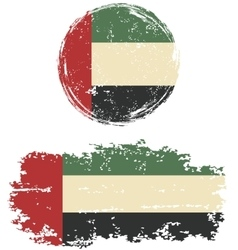 United Arab Emirates round and square grunge flags vector image