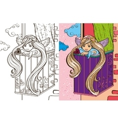 Colouring book of angel girl on balcony vector
