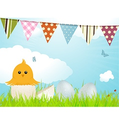 Easter chick and bunting vector image vector image